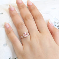 peach sapphire ring bridal set in rose gold vintage floral diamond band by la more design