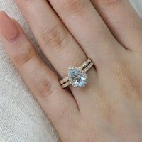 pear aquamarine engagement ring scalloped diamond wedding band set yellow gold by la more design