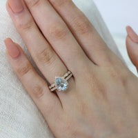 pear aquamarine ring bridal set in yellow gold scalloped diamond band by la more design