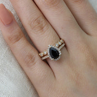 halo diamond pear black spinel ring bridal set in yellow gold scalloped diamond band by la more design
