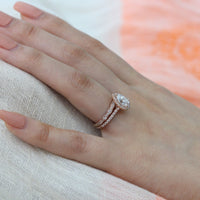 rose gold pear moissanite engagement ring bridal set and scalloped diamond band by la more design