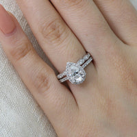 pear moissanite engagement ring scalloped diamond wedding band set white gold by la more design