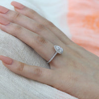 pear moissanite ring white gold halo diamond engagement ring by la more design