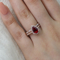 pear ruby engagement ring scalloped diamond wedding band set rose gold by la more design