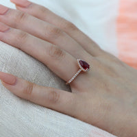pear ruby ring diamond halo engagement ring by la more design