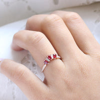 pear and baguette diamond and ruby ring rose gold stacking diamond wedding band by la more design jewelry