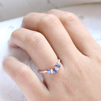 pear and baguette diamond and sapphire ring rose gold stacking diamond wedding band by la more design jewelry
