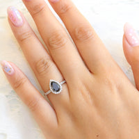 pear black diamond engagement ring in white gold halo diamond ring by la more design jewelry