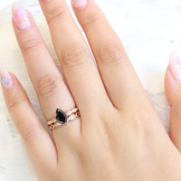 pear black diamond solitaire ring wedding set in rose gold low profile ring bridal set by la more design jewelry