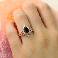 pear black spinel ring and star curved diamond band rose gold vintage halo bridal set by la more design