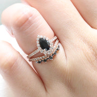 pear engagement ring rose gold black diamond halo ring and curved crown diamond wedding band by la more design jewelry
