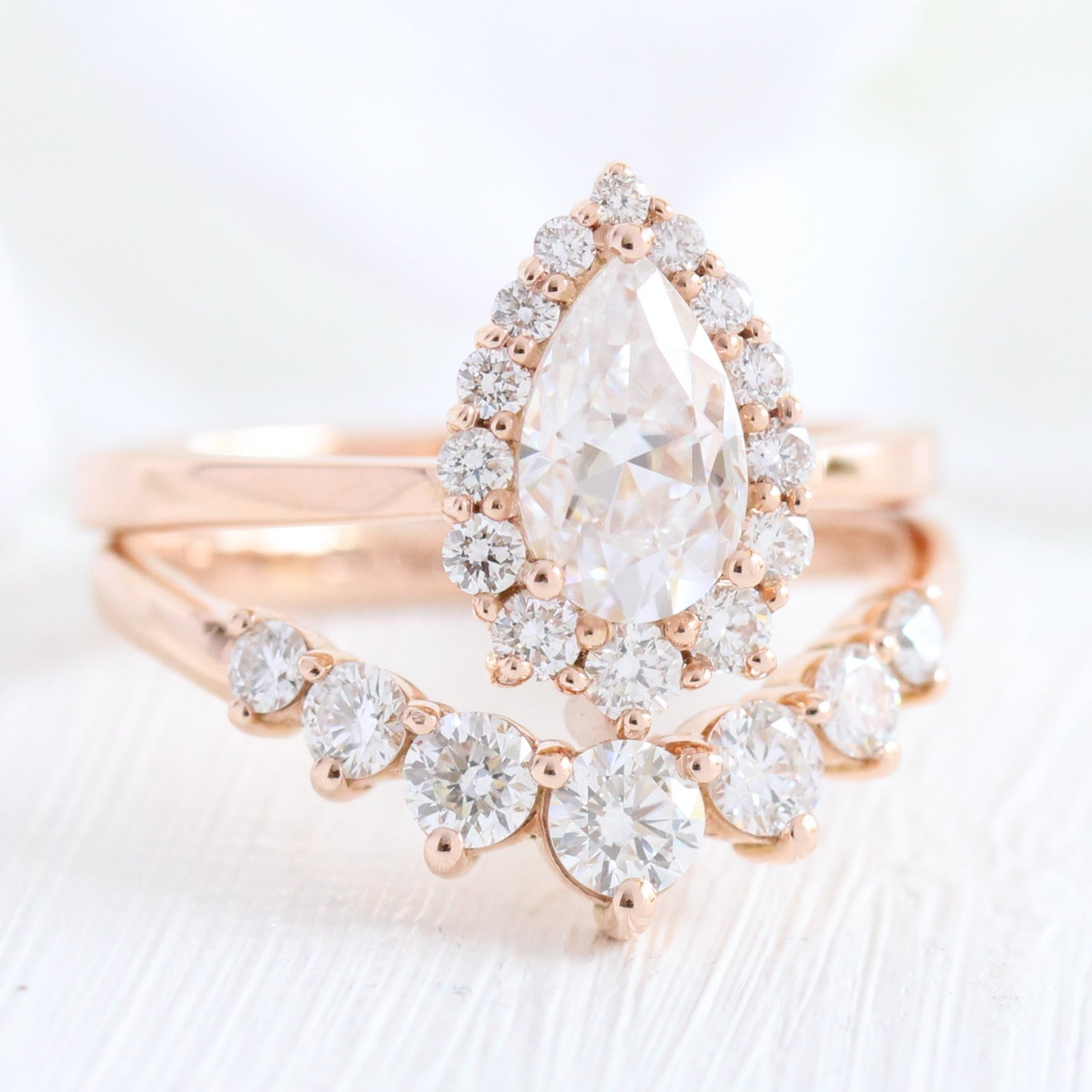 Details about  /14K Rose Gold Plated 1.9 Ctw Pear Cut Diamond Wedding Engagement Ring Bridal Set