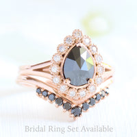 pear rose cut black diamond ring rose gold and v shaped diamond wedding ring set by la more design