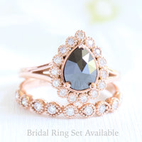 pear rose cut black diamond ring rose gold and vintage style diamond wedding ring set by la more design