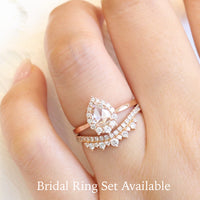 pear rose cut diamond engagement ring in rose gold halo diamond by la more design