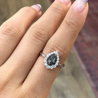 pear cut salt and pepper diamond engagement ring white gold halo ring