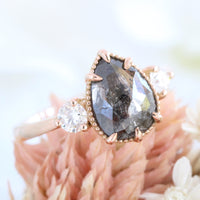 pear cut salt and pepper diamond ring rose gold 3 stone diamond ring la more design jewelry