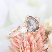 pear cut salt and pepper diamond ring rose gold 3 stone ring la more design jewelry