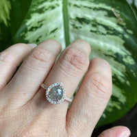 pear cut salt and pepper diamond ring rose gold halo cluster ring la more design jewelry