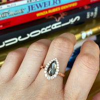 pear cut salt and pepper diamond ring rose gold halo ring la more design jewelry