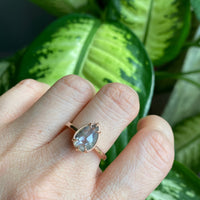 pear cut salt and pepper grey diamond ring rose gold solitaire ring la more design jewelry