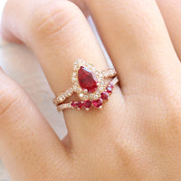 pear ruby diamond engagement ring rose gold bridal set and contour ruby wedding band by la more design jewelry
