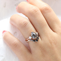 pear salt and pepper diamond ring rose gold 3 stone diamond ring bridal set la more design jewelry