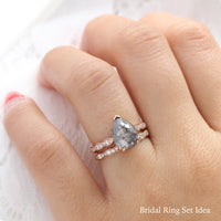 pear salt and pepper diamond ring rose gold pear solitaire grey diamond ring stacking bridal set ring la more design jewelry