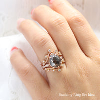 pear salt and pepper diamond ring rose gold vintage engagement ring grey diamond ring bridal set la more design jewelry