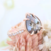 pear salt and pepper diamond ring rose gold vintage engagement ring grey diamond ring la more design jewelry