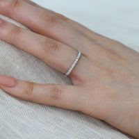 petite white gold wedding ring half eternity diamond band by la more design