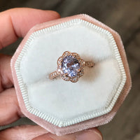 Custom Made Vintage Floral Purple Sapphire Ring in 14k Rose Gold, Size 4.5