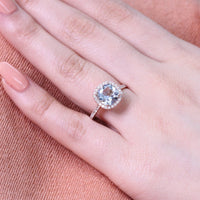 rose gold aquamarine engagement ring halo diamond band by la more design
