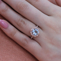 cushion aquamarine engagement ring in rose gold vintage inspired band by la more design