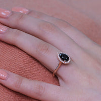 rose gold pear black spinel halo diamond ring set by la more design
