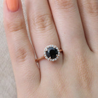 rose gold black spinel ring halo diamond round engagement ring by la more design