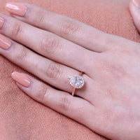 Pear Moissanite Engagement Ring in 14k Rose Gold Luna Halo Diamond Band, Size 4