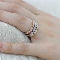 rose gold white gold yellow gold milgrain wedding band half eternity diamond ring by la more design