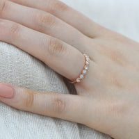 rose gold milgrain wedding band half eternity diamond ring by la more design