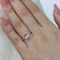 rose gold morganite engagement ring halo diamond oval ring by la more design