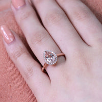 rose gold morganite engagement ring halo diamond pear ring by la more design