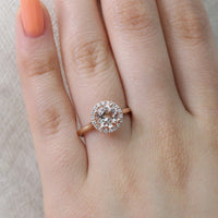 Halo Diamond and Morganite Engagement Ring in 14k Rose Gold, Size 9.25