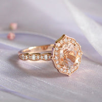 rose gold morganite ring oval engagement ring diamond scalloped band by la more design