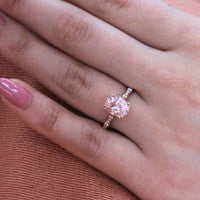 solitaire morganite bridal set in rose gold curved leaf diamond band by la more design