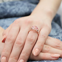 rose gold peach sapphire ring floral engagement ring diamond scalloped band by la more design