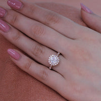 forever one moissanite engagement ring in rose gold diamond band by la more design