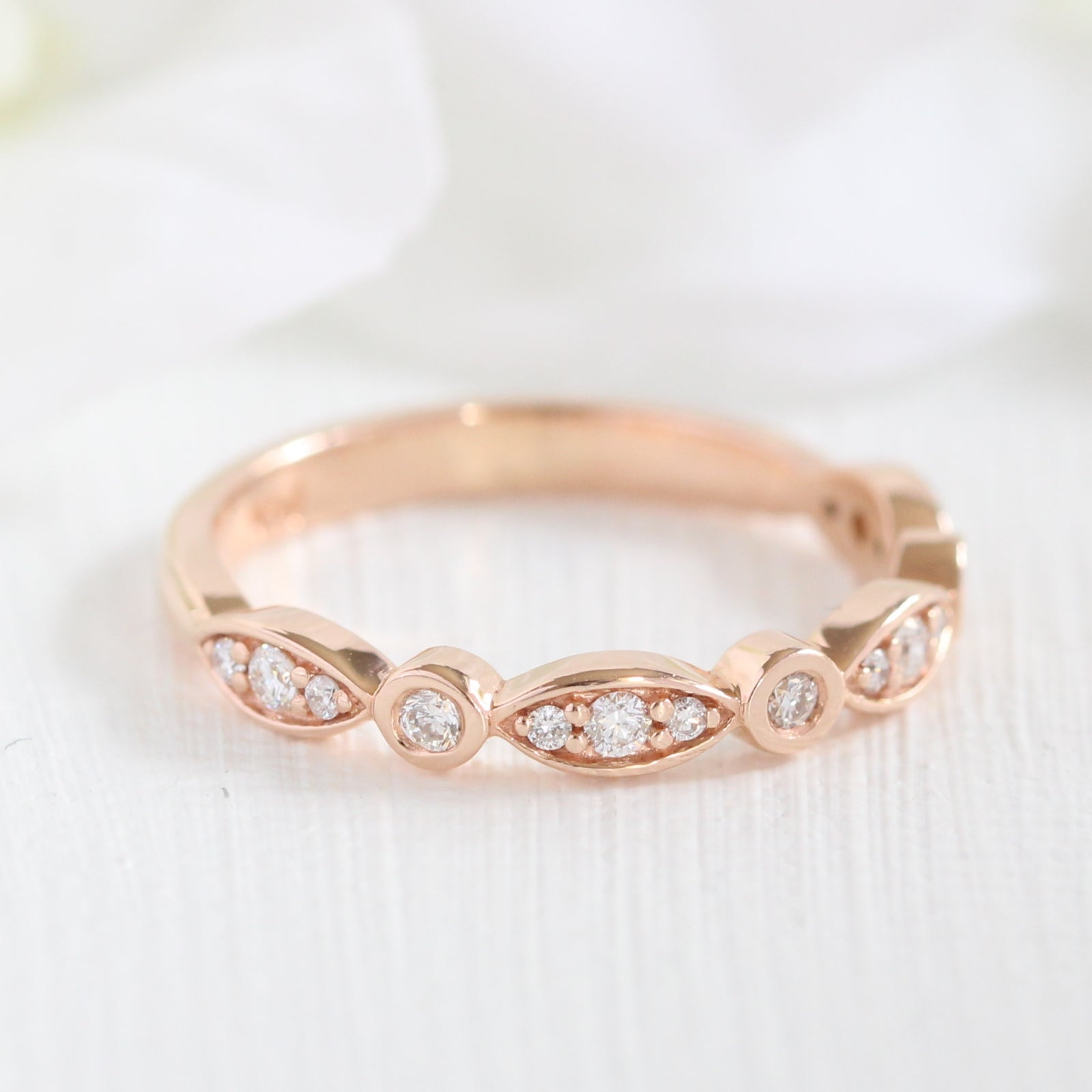 by la design bezel ring band more wedding scalloped diamond in products gold white bands