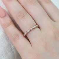rose gold scalloped wedding band diamond ring bezel band by la more design