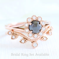 rose cut black diamond ring and curved leaf diamond wedding set in rose gold by la more design