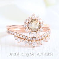 rose cut champagne diamond ring bridal set in rose gold halo diamond by la more design
